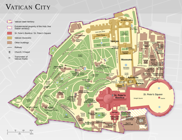 Rome in a day and a half - Vatican City map